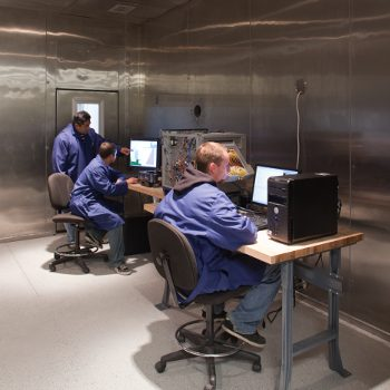 Engineers testing products in our onsite environmental chamber